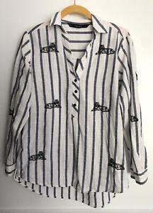 Zara-Button-Up-Tunic-Shirt-Striped-Tiger-King-Joe-Exotic-Carole-Baskin-Costume-S