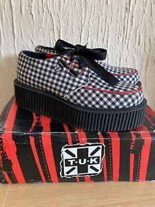 TUK-Mondo-Hi-Creepers-Gingham-Black-Red-And-White-Size-4-Uk-Brand-New