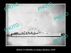OLD-8x6-HISTORIC-PHOTO-OF-HMAS-CANBERRA-IN-SYDNEY-c1930-AUSTRALIAN-NAVY