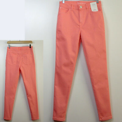 M/&S Super Soft SKINNY Mid Rise JEGGINGS ~ Size 12 Regular ~ BRIGHT CORAL