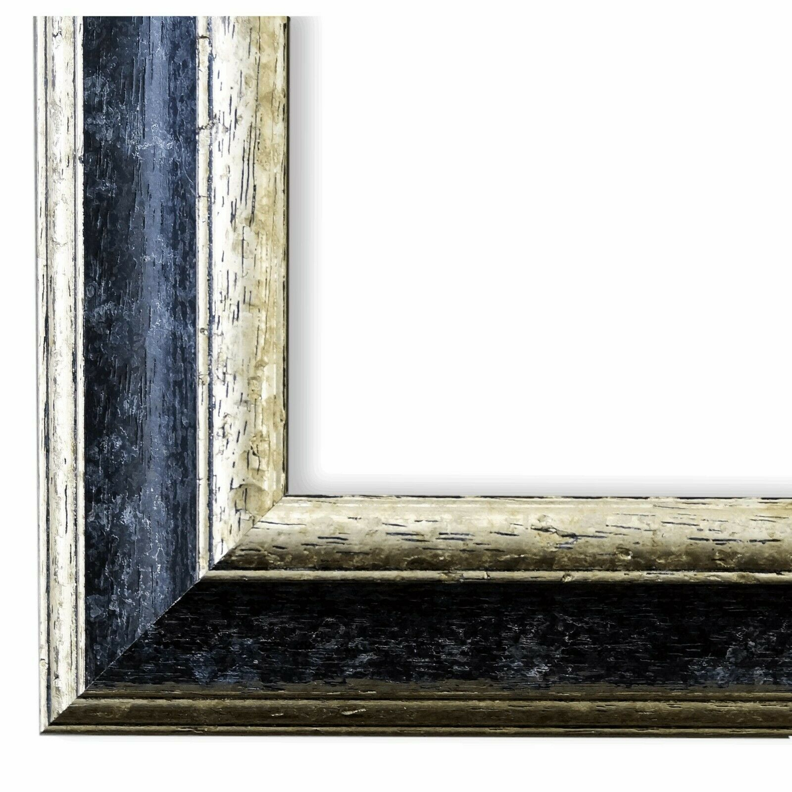 Bilderrahmen Schwarz Silber Klassisch Retro Holz Genua 4,3 - NEU alle Größen