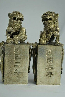 Collectibles Chinese Old Decorated White Copper Handwork Kylin Pair Seal Statue