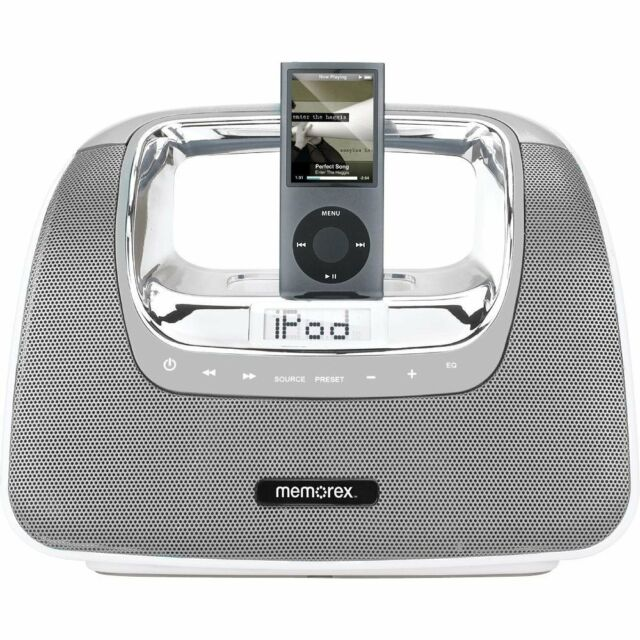 Memorex MI3X-SIL Mini Move Portable Boombox Ipod Dock FM Radio + Remote