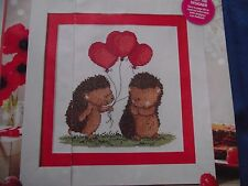 A PRICKLY PAIR  CHARMING HEDGEHOG COUPLE WITH HEART BALLOONS CROSS STITCH CHART