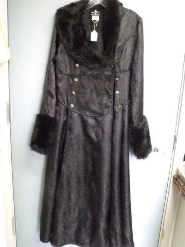 Women's  Lip Service Long Black Coat w/Faux Fur Sz