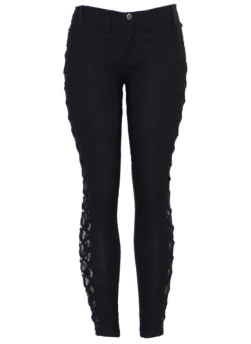 New Ladies Black Cut Out Lace insert Studded Skinny Legging Jegging Trouser Pant