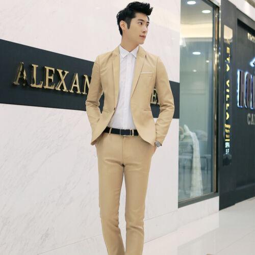 Mens Business Leisure A Suit Two-piece Suit Grooms Best Wedding Coat Jacket Men