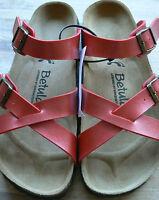 Betula By Birkenstock Greta Cross Over Strap Buckle Sandal Red 5 Eu38