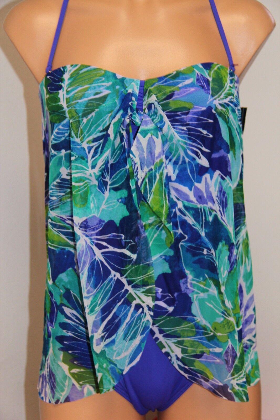 NWT Ralph Lauren Swimsuit Bikini 1 One piece Size 6 Fly Away bluee