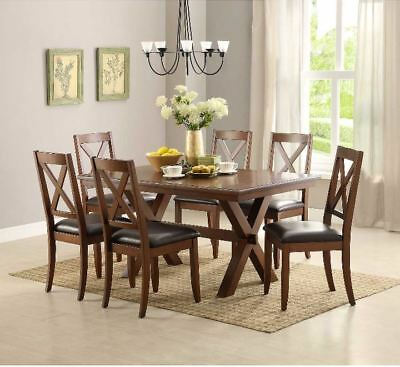 Farmhouse Dining Table Set Modern Rustic 7 Piece 6 Chairs Set Wood Kitchen  Brown 7807963623979 | eBay