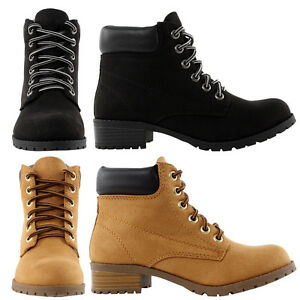 Soda New Womens Ankle Work Boots Suede Lace Up Combat Army Booties ...