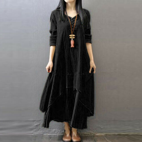 Women Ethnic Peasant Cotton Boho Linen Long Sleeve Maxi Dress Gypsy Dresses US