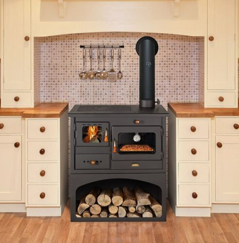 New10 kw cooking wood burning stove oven cast iron top - Cucina con forno a legna ...