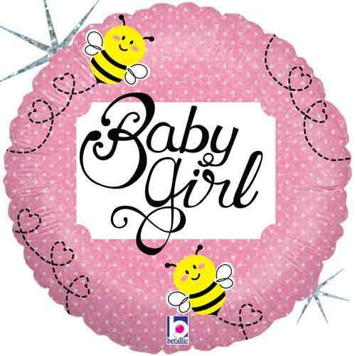 7 pc Baby Girl Buzzy Bee Balloon Bouquet Party Decoration Welcome Home Shower