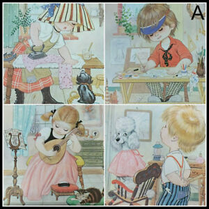 COMPLETE-SET-NOS-4-Vintage-1970s-Jandro-Little-Workers-Litho-Art-Children-Kitsch