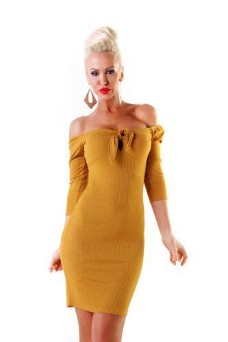 10535 Raffiniertes Damen Feinstrick Kleid Langarm Minikleid Strickkleid