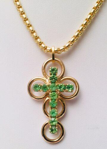 Vintage 1980's Rhinestone Runway Cross Necklace 28
