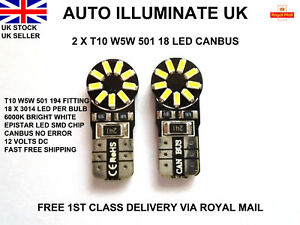 T10-501-W5W-18-DEL-SMD-SANS-ERREUR-CANBUS-XENON-Blanc-Lateral-Ampoules-Lampes-12-V