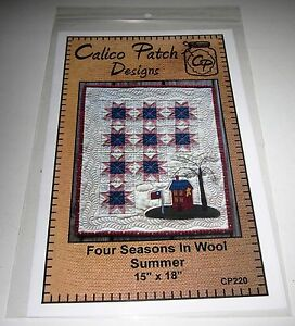 FOUR SEASONS IN WOOL SUMMER QUILT Applique and Pieced Sewing PATTERN