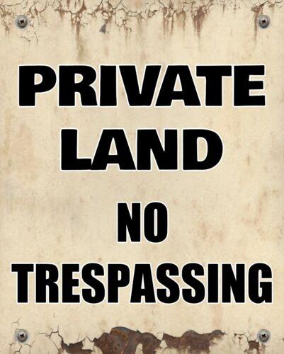 Terres privées aucune intrusion TRESPASS FARMER Land Avertissement métal étain signe 2843