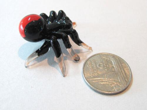 Tiny WILD Black SPIDER CRAFT MINIATURE HAND BLOWN GLASS FIGURINE COLLECTION