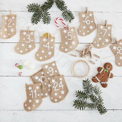 Rustic Style Christmas Advent Calendar Garland 24 Xmas Stockings Decoration