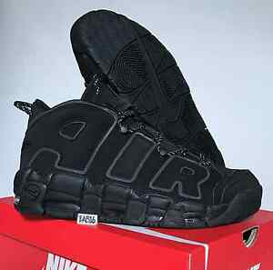 NIKE AIR MORE UPTEMPO Triple All Black 3M Reflective 414962 004 Pippen Incognito