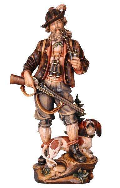 Cazadores con perro holzgeschnitzt personaje escultura