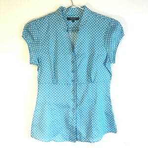 TM-Lewin-Women-s-Blue-Spotty-Short-Sleeved-Summer-Shirt-Blouse-UK-Size-6