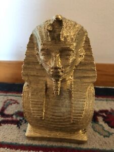 Ancient Egyptian Pharoah Figurine- RAMSES Painted in Gold! LOOK! 7 Inches tall