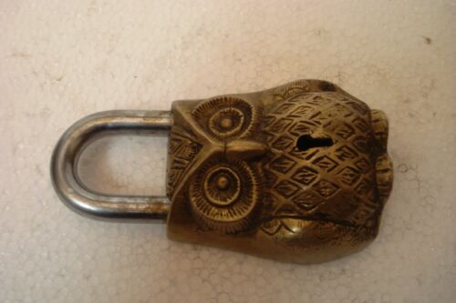 5050 Brass Made ANTIQUE Style OWL Type Padlock Lock with Key