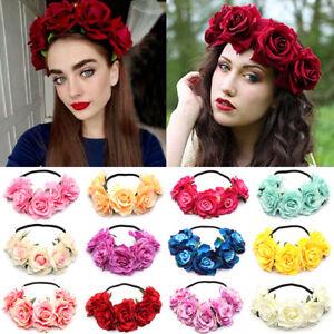 Bridal-Headwear-Rose-Flower-Garland-Elastic-Wreath-Headband-Wedding-Hairband