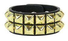 2 Row Gold Pyramid Stud Leather Bracelet Punk Goth Rockabilly Heavy Metal Bikers