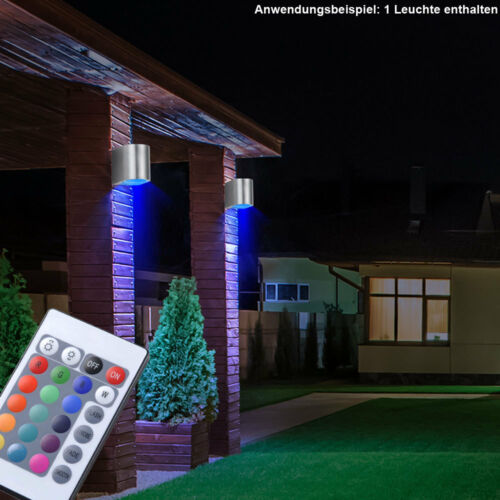 RGB LED Außen Spot Wand Strahler Lampe Garten FERNBEDIENUNG ALU Dimmbar UP DOWN