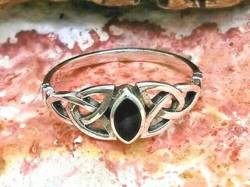 Keltischer Knoten Damen 925 Echt Silber Ring Stein schwarz Triquetra Kelten