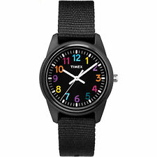 Kids Timex Time Teacher Black Nylon Fabric Band Watch TW7C10400