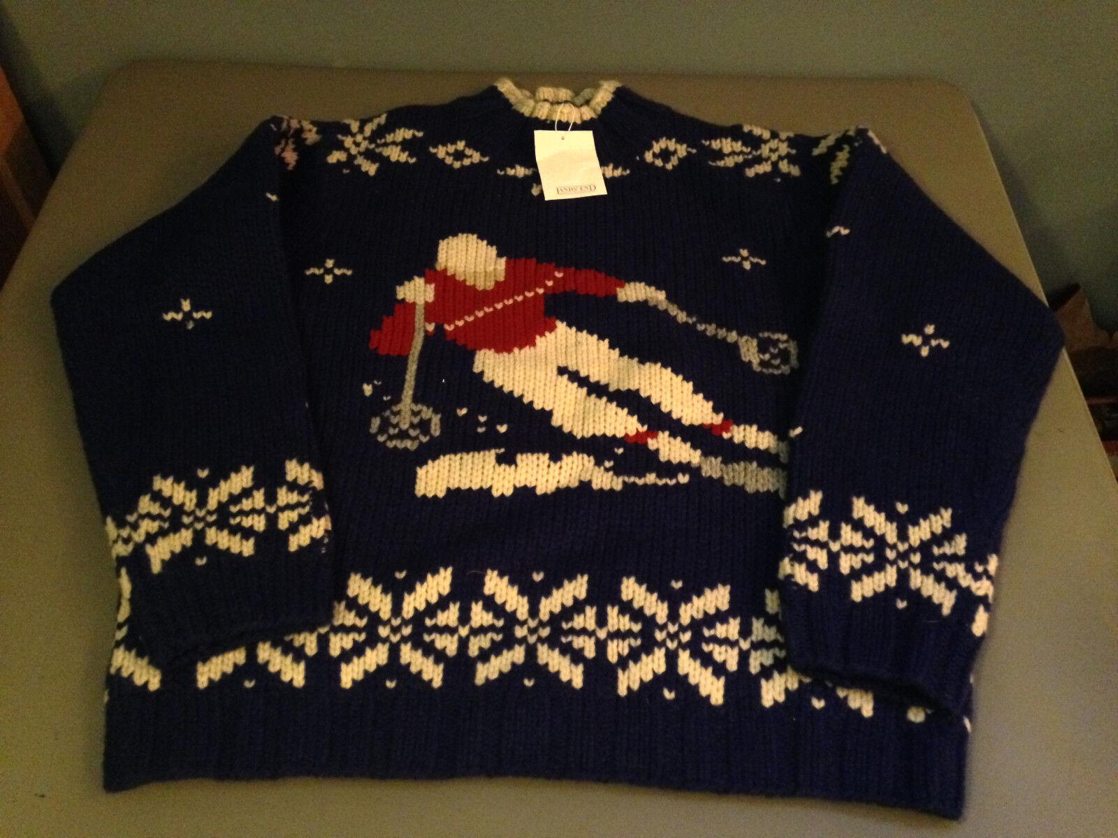 Vintage Lands' End Genuine Lambs Wool Knit Snow Ski Sweater (Large 14-16 REG)