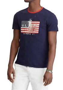 L T Crew Neck Fit Nuevo Usa Graphic Flag Ralph Slim Polo Shirt Lauren Tee Logo SPcC6UWS