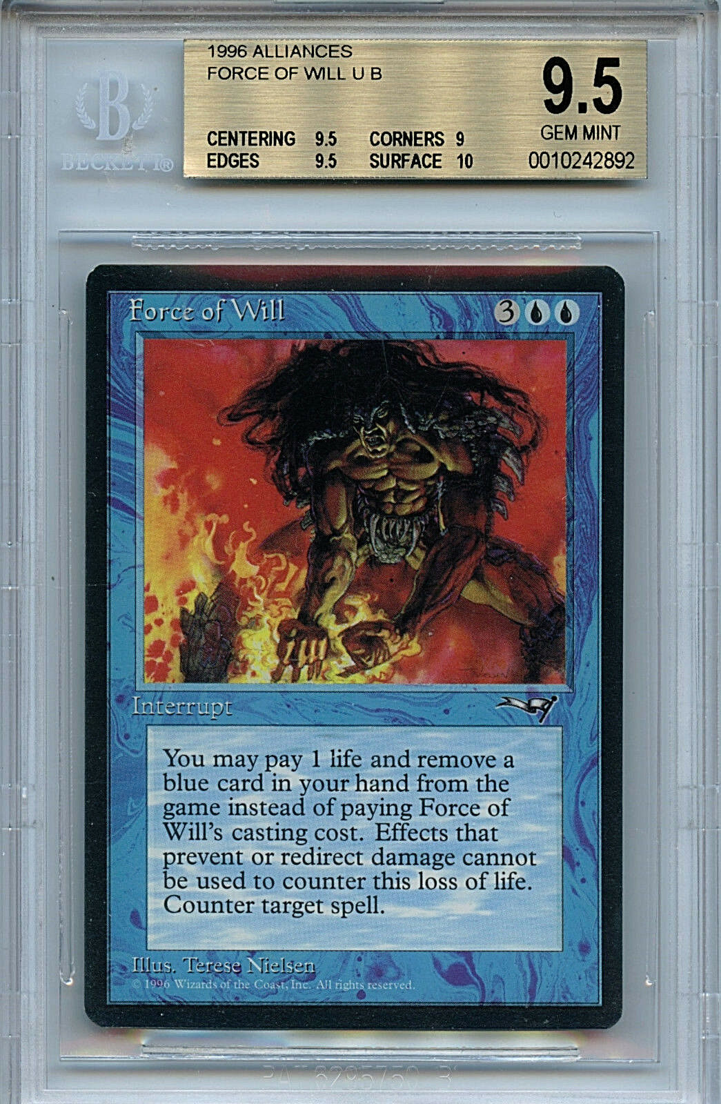 MTG Alliances Force Force Force of Will BGS 9.5 Gem Mint Magic The Gathering WOTC 2892 9d7ca7