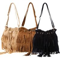 Women Fringe Tassel Suede Shoulder Messenger Bag Cross Body Handbag Purse LM