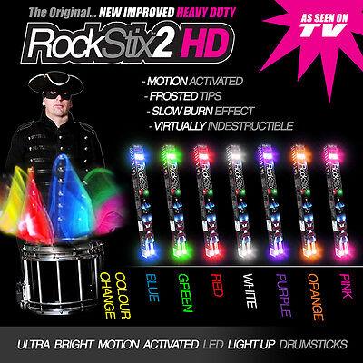2 PAIRS of ROCKSTIX2 HD - LED LIGHT UP DRUMSTICKS - Mix Colours - (firestix)