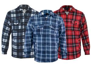 Mens-Fur-Lined-Padded-Fleece-Shirt-Lumberjack-Work-Jacket-Check-Sherpa-Warm
