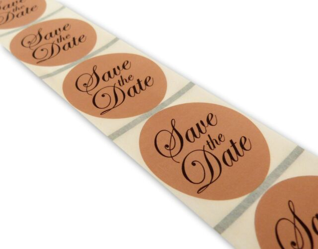 100 round 45mm kraft rustic save the date wedding stickers