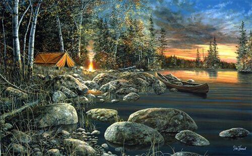 Twilight Fire By Jim Hansel Campfire Lake Print  18 x 10.5