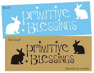 """Stencil 2/"""" Country Primitive Bunny Rabbit Spring Easter Holiday Home Art Signs"""