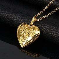 18K Gold Plated Heart Rose Design Photo Locket Pendant Chain Necklace *UK*