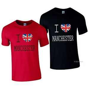35a9f993 CUSTOM I LOVE MANCHESTER T-SHIRT ADULT TOP UK BRITAIN ENGLAND TEE ...