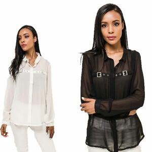 Marca-nuevo-aspecto-Reino-Unido-Damas-Malla-Transparente-Negro-Blanco-Mangas-Largas-Camisa-Top-Con