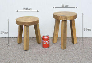 2x-round-wooden-milking-stool-with-nice-wax-finish-FREE-POSTAGE