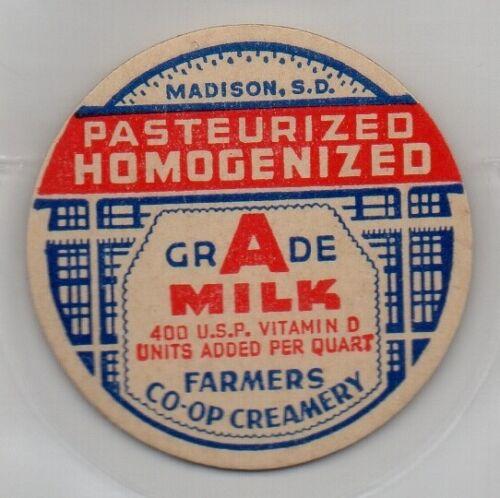 Madison South Dakota Farmers Co-op Creamery Milk Bottle Cap Insert